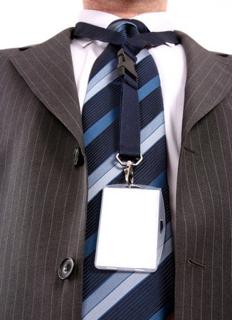 authorisation:  men with his id card on long  leash