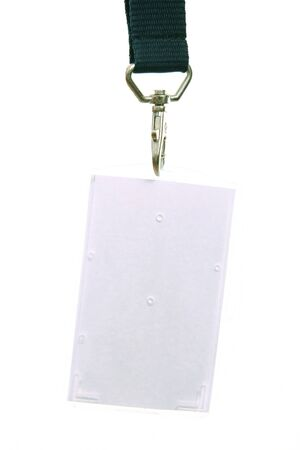 Blank name tag with leash, on white background Stock Photo - 4094269