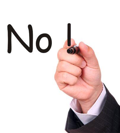objecion: mano y la palabra NO aislados en blanco Fundamentos Foto de archivo