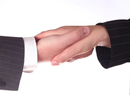 Business handshake man and woman  - isolated on white background Stock Photo - 4146775