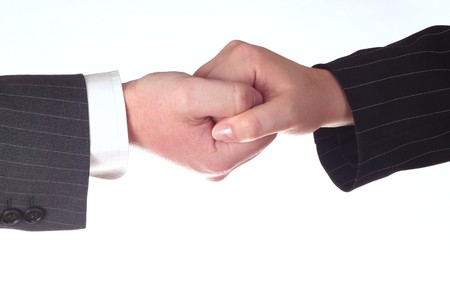 synergy of two business hands , isolated on white background Stock Photo - 4146779
