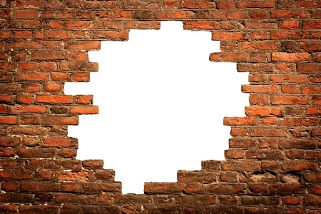 white hole in old wall, brick frame Stock Photo - 4155162