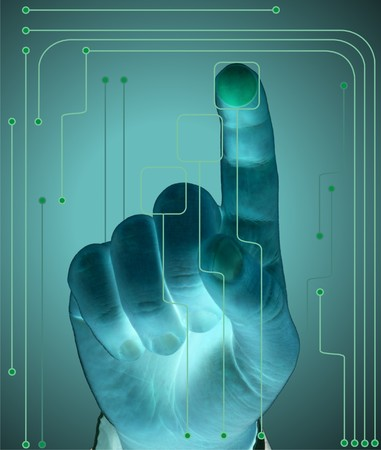 Concept of secure data by touch screen, (future technology) photo