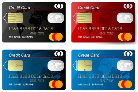 debit: Set of credit card vector, highly detailed