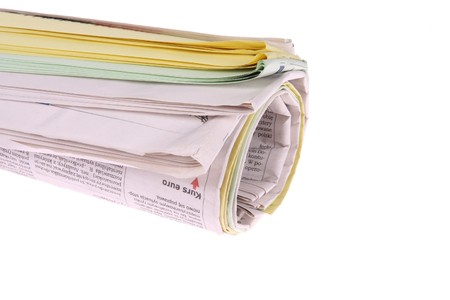 Roll of newspapers, isolated on white background Stock Photo - 4235835