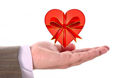 Red heart on male hand - for Valentine Day Stock Photo - 4235842