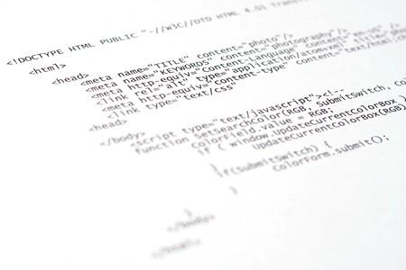 Printed internet html code - technology background Stock Photo - 4257790