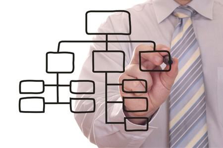 process diagram: Men drawing a black process diagram