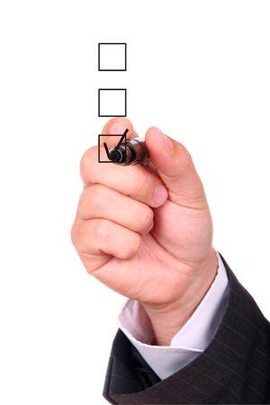 hand chosing one of three options photo