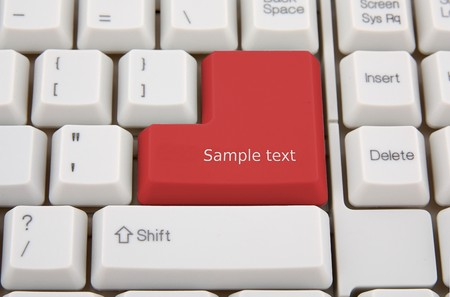 Computer keyboard with red key for you text photo