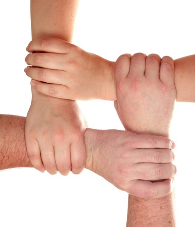 gripping hair: Group of the hands , isolated on white background Stock Photo