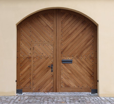 front entry: New modern wooden gate (door)