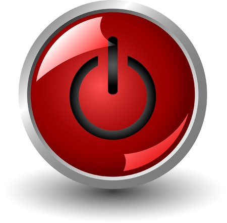 red power button isolated on white background, jpg photo