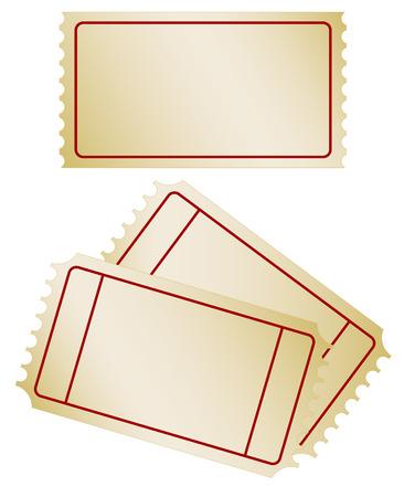 Set of old paper ticket Vector