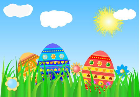 Easter background with colour eggs Vector