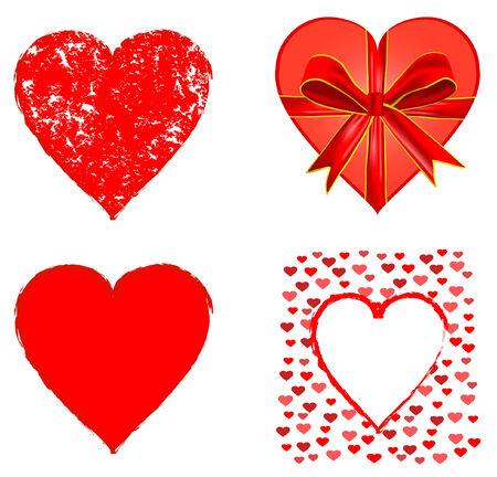 シンボルのバレンタインの赤いハートのセット  イラスト・ベクター素材