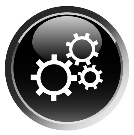 Gears wheel, mechanical gears button, vector Vector