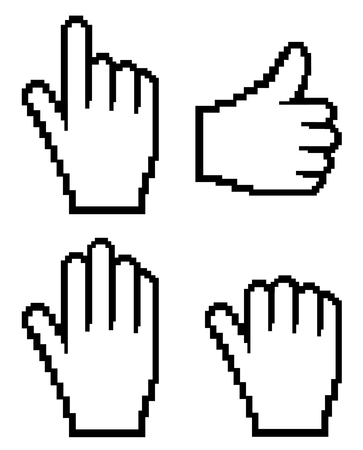 white pointer: Set of computer hand  (web cursor)  Vector Illustration