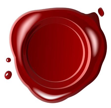 sceau cire rouge: Cachet de cire rouge, avec un vecteur sera en baisse, sur fond blanc