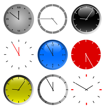 set of color wall clock vector on white background Vector