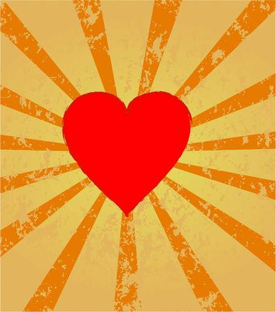 red heart on retro sunburst background ,vector  Vector