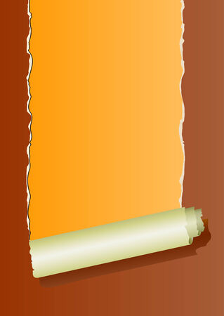 plied: brown ripped wall paper on orange background -vector