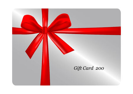 prepaid: gift card with red ribbon. vector