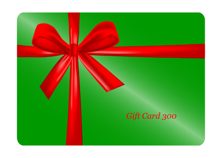 prepaid card: Green gift card with red ribbon. vector