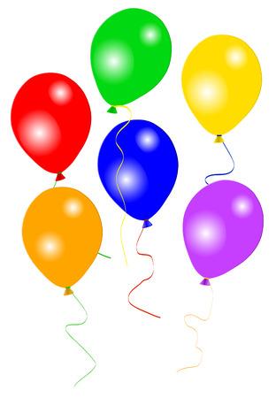 globos fiesta: Seis globos de colores