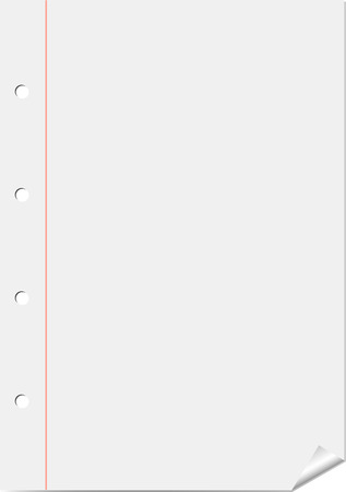 margin: Vector white page from notepad with red margin