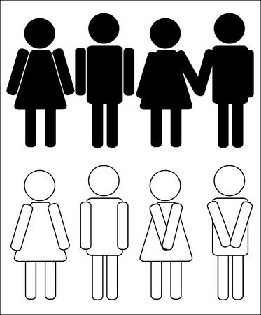 genders: vector silhouettes of man and woman