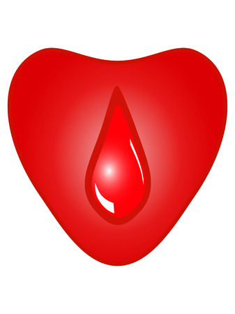Heart with drop of blood Vector