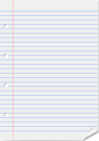 Vector line page from notepad with curly