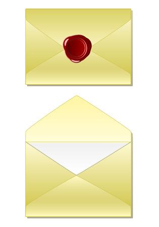 old envelope: Old envelope with wax seal Illustration