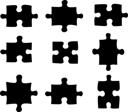 managed: Blank and black puzzle pieces on white  Illustration
