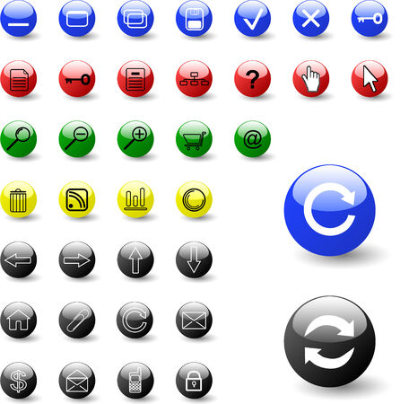 player controls: Big collection of  web color icons - vector Illustration