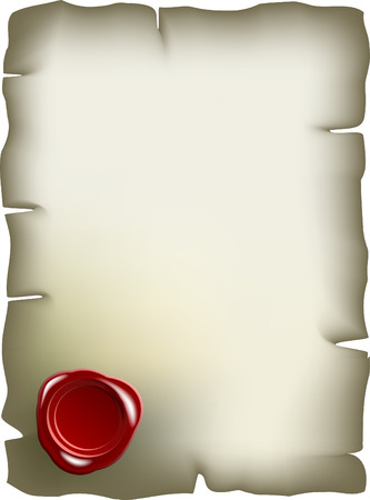 Old paper with red wax seal Stock Vector - 4407207