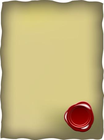 sceau cire rouge: Vieux papier avec cachet de cire rouge
