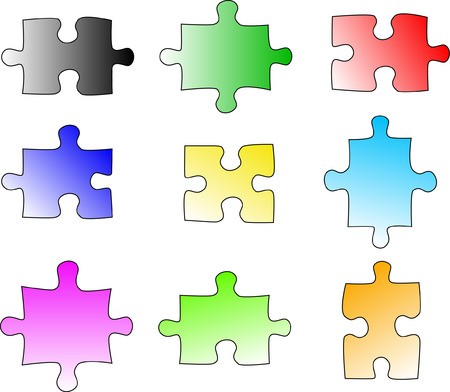 Blank colour puzzle pieces Vector