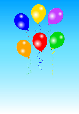 Six colorful party balloons on blue sky Vector