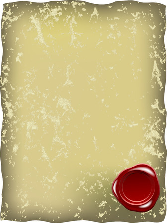 sceau cire rouge: Grungy papier avec cachet de cire rouge
