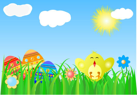 Easter background with colorful eggs and chick Stock Vector - 4408758