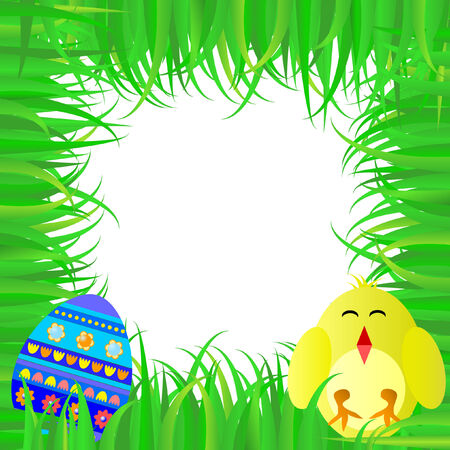 Spring-Easter frame with egg and baby chickens Stock Vector - 4408852