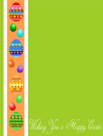 green Easter greeting card witj eggs Vector