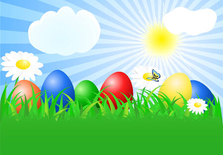 Easter background with colourful eggs Vector