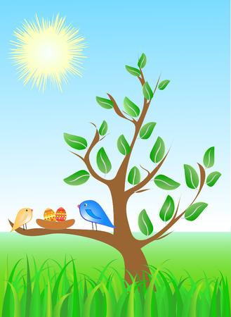 �rboles con pajaros: Semana Santa de vectores resumen de antecedentes de los �rboles, aves y huevos