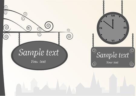 letreros: de reloj de �poca antigua y la tabla de anuncios, el vector