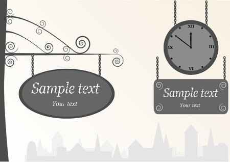 ad: old vintage clock and ad table, vector