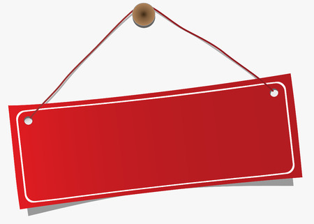 ad: Red,empty hanging label, vector Illustration