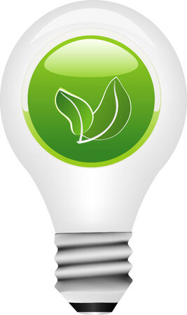 Vector light bulb with ecology button icon Vector